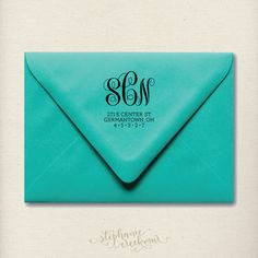 "Custom 2"" x 2"" Monogram Return Address Stamp. I need this."
