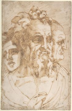 Baccio Bandinelli, 1493-1560, Italian, Three Male Heads, 1493-1560.  Pen and brown ink over traces of black chalk; 32.1 x 20.6 cm.  Metropolitan Museum of Art, New York.  Mannerism.