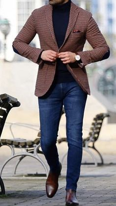Have some fun with plaid this upcoming spring! Try this dapper outfit gentlemen. A burnt orange plaid sport coat with blue jeans and brown boots. Mens Casual Dress Outfits, Formal Men Outfit, Stylish Mens Outfits, Blazer Outfits, Dress Formal, Mens Fashion Blazer, Suit Fashion, Fashion Outfits, Smart Casual Menswear