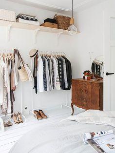 We Asked a Closet Designer How to Organize a Tiny Bedroom via @MyDomaine