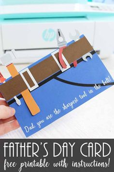 Cute free printable Father's Day card for a handy guy! Let the kids help by cutting out the tools in this adorable DIY card. Diy Father's Day Gifts Easy, Gifts For Dad, Diy Gifts, Fun Crafts, Crafts For Kids, Card Crafts, Diy Cutting Board, Fathers Day Crafts, Fathers Gifts