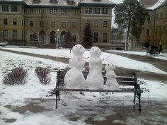 Snow family - made by some UMKC students during our one real snowy day this winter.
