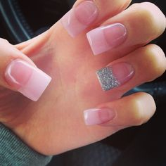 Nails! Pale pink with sparkle tips(: