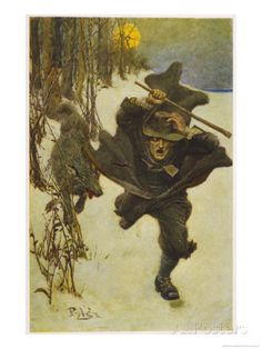 At Salem Dr. Wilkinson is Pursued by a Sinister Wolf Giclee Print by Howard Pyle at AllPosters.com