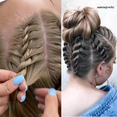 Side by side of the rope braids - Braids Tutorial Video by Shayla Robertson G . - Side by side of the rope braids – Braids Tutorial Video by Shayla Robertson German Individual des - Easy Hairstyles For Long Hair, Up Hairstyles, Halloween Hairstyles, Wedding Hairstyles, School Hairstyles, Cool Girl Hairstyles, Simple Braided Hairstyles, Braided Hairstyles For Long Hair, Waitress Hairstyles