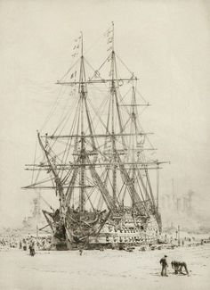 Wyllie Fine Art Repro Made in U.S.A Giclee Prints Restoring HMS Victory by W