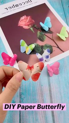 Cool Paper Crafts, Paper Crafts Origami, Origami Art, Cute Crafts, Easy Origami Butterfly, Diy Crafts Butterfly, Oragami, Diy Crafts Hacks, Diy Crafts For Gifts