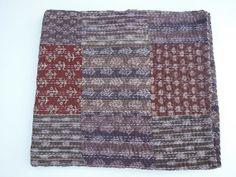 Hand Block Kantha Blanket  Kantha Quilt  Indian by Labhanshi, $75.00