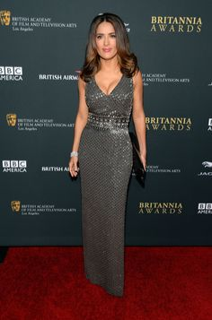 The always-sultry Salma Hayek sizzled once again when hitting the red carpet of the 2013 BAFTA Awards in a sparkling grey gown.
