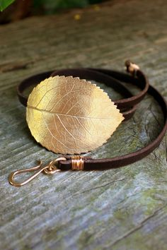 Leather Wrap Bracelet - Eco friendly recycled bronze, large rose leaf by Silkstone Designs