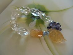 large faceted rock crystal ovals in a corsage bracelet