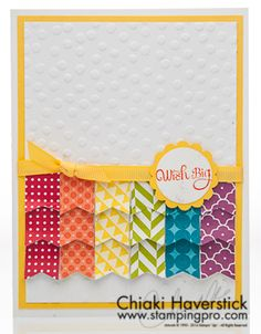 Would be cute with the Stampin' Up banner punch and maybe a different embossing folder...