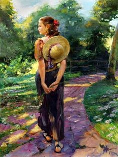 Vladimir Volegov Out For a Walk painting is shipped worldwide,including stretched canvas and framed art.This Vladimir Volegov Out For a Walk painting is available at custom size. Painting People, Woman Painting, Figure Painting, Vladimir Volegov, Photo D Art, Russian Art, Art Pages, Anime Comics, Beautiful Paintings