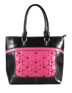 3d3175d60a Large Black Purse with Hot Pink Flowers Purse #purseswithbling  #largeblackpurse Animal Print Purses,