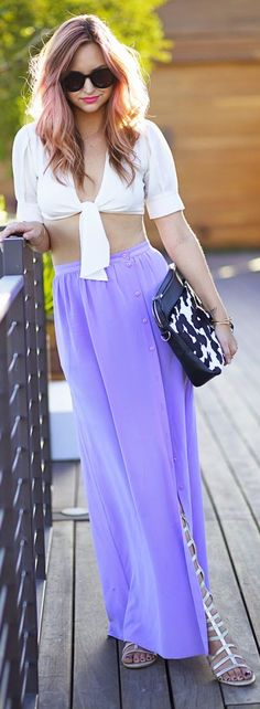 Tibi Lilac Button Up Side Split Maxi Skirt by Late Afternoon