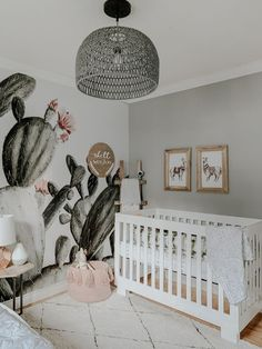 baby kids Brinley and Rhetts Space. See My Kiddos boho desert nursery. Completed with a Cactus wallpaper and a lantern pendant light Boho Nursery, Nursery Neutral, Nursery Room, Girl Nursery, Nursery Decor, Room Decor, Western Nursery, Newborn Nursery, Project Nursery