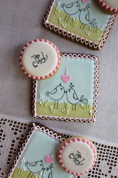 Little Bird Stamped Cookies : how to rubber stamp on cookies