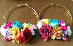 Jewelry Design Earrings, Handmade Jewelry Designs, Cute Jewelry, Jewelry Crafts, Big Earrings, Jóias Body Chains, Jewelry Closet, Fantasias Halloween, Fabric Jewelry
