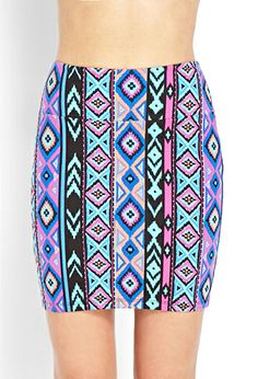 Vibrant Tribal Print Skirt