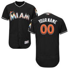 Miami Marlins Majestic Alternate Flex Base Authentic Collection Custom Jersey - Black