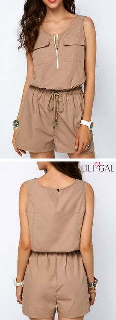 Round Neck Pocket Front Drawstring Romper #liligal #romper #womenswear #womensfashion Casual Outfits, Cute Outfits, Fashion Outfits, Womens Fashion, Lounge Outfit, Playsuits, Jumpsuits For Women, Women Wear, Rompers
