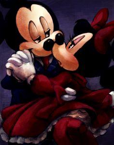 Mickey and Minnie sittin in a tree K I S S I N G