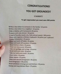 You're Grounded!! To get ungrounded, you must earn 500 points. Choose from the points list below to get there =)