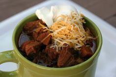 My partner made this for us and it's amazing! no bean chili in the crock yum!