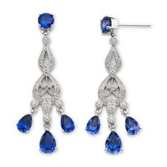 Lab-Created Blue Sapphire & Diamond Accent Chandelier Earrings  found at @JCPenney