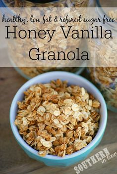 Put down the shop bought granola and try making your own Healthy Homemade Granola! This Low Fat Honey Vanilla Granola Recipe is also gluten free and uses just five ingredients. It is super simple to make and yields a large amount for just $3!