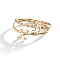 Our Gold Script Initial Letter Ring is a romantic-twist on the classic letter ring - wear as a stacking ring or midi ring. Made of solid gold. Three Sisters Jewelry, Sister Jewelry, Diamond Stacking Rings, Diamond Wedding Rings, 14k Gold Jewelry, Bridal Jewelry, Jewels Clothing, Galaxy Jewelry, Space Jewelry