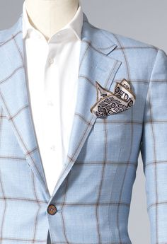 Light Blue jacket Brown Checked | Men's Suit and formal Dresses | Men Wedding Suit