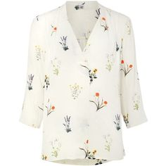 Phase Eight Aria Print Blouse (£49) ❤ liked on Polyvore featuring tops, blouses, floral blouse, pattern blouse, floral print blouse, white pleated blouse and white v neck blouse