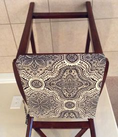 Rustic print seat cushion cover, kitchen chair pad, neutral beiges w black traditional print, counter bar stool seat pad cover, washable by BrittaLeighDesigns on Etsy
