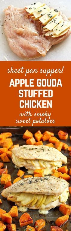 Creamy Gouda cheese and sweet apples make these stuffed chicken breasts a winner., Food And Drinks, Creamy Gouda cheese and sweet apples make these stuffed chicken breasts a winner! Pair with smoky roasted sweet potatoes for a sheet pan supper that w. Think Food, I Love Food, Sheet Pan Suppers, Cuisine Diverse, Cooking Recipes, Healthy Recipes, Delicious Recipes, Healthy Food, Roasted Sweet Potatoes
