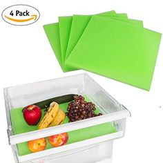 Fruit and Veggie Life Extender Liner by Tenquest 4-Pack, 15X14 Inch, Refrigerator Shelf - Produce Saver, Extends Life and Keeps Refrigerator Fresh Prevents Spoilage