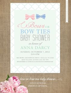 Bows or Bowties  Gender Neutral Baby Shower by AnnaHatcherDesign, $15.00