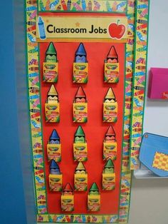 Classroom jobs Using crayola boxes. *THIS but instead of jobs, use the crayon boxes for the discipline chart and use the crayons I already have cut out for each child Classroom Job Chart, Classroom Jobs, Classroom Crafts, Classroom Design, Kindergarten Classroom, Classroom Organization, Future Classroom, School Decorations, School Themes