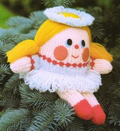"""Meet 'Hyacinth Humpty the Fairy' probably one of Jean Greenhowe's earliest designs. As always the pattern is easy to follow and to do. She is made using DK wool and a few other bits and pieces. Hyacinth is about 28cm/11"""" high. This version of the pattern was featured in Jean Greenhowe's """"Knitted Toys"""" book published by Book Club Associates in 1986. Jean Greenhowe, Designer Toys, Stuffed Toys Patterns, Knitting Designs, Ravelry, Pixie, Knit Crochet, Crochet Patterns, Wool"""