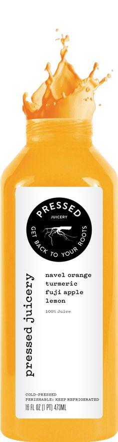 Cold Pressed Juices | Pressed Juicery Cleanse Options NAVEL ORANGE TUMERIC FUJI APPLE LEMON