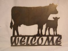 Cow & Calf Metal Welcome Sign by jbweldz on Etsy, $15.00