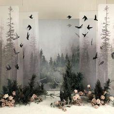 Ghost Forest, a Patti Barker Nuno felt set up barker felt forest ghost set up patti artdrawingssimple – Her Hook Stage Design, Event Design, Photowall Ideas, Flower Installation, Wedding Altars, Retail Design, Event Decor, Backdrops, Floral Design