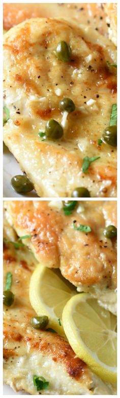 Easy Chicken Piccata ~ A simple and elegant dish of lightly pan-fried chicken fillets in a rich sauce of white wine, fresh lemon juice, and capers.