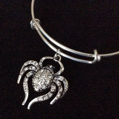 Crystal Spider Charm on a Silver Expandable Bangle Bracelet Halloween Costume Hostess Gift Adjustable Wire Trendy Stackable