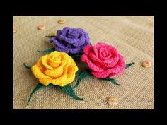 Flores tejidas a crochet fáciles de tejer - YouTube