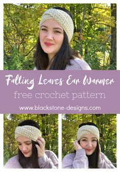 Falling Leaves Ear Warmer free crochet pattern from Blackstone Designs   #crochet #freecrochetpattern #earwarmer #headwrap #headband #crochethat #winteraccessories #fallaccessories #fallfashion #winterfashion #fall2019 #winter2019 #crochetgifts #crochetpatterns #stashbuster #holidaystashdown #quickandeasy