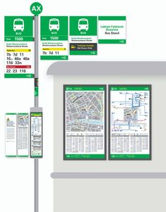 National Transport Authority (NTA) of Ireland Wayfinding & Design Standard Manual designed by fwdesign, showing guidance for Bus stops and associated (Quad Royal size) Publicity display. Signage Design, Map Design, Design Posters, Environmental Graphic Design, Environmental Graphics, Bus Stop Design, Park Signage, Navigation Design, Bus System