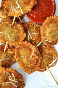 Deep-Fried Ravioli On a Stick from justataste.com #recipe
