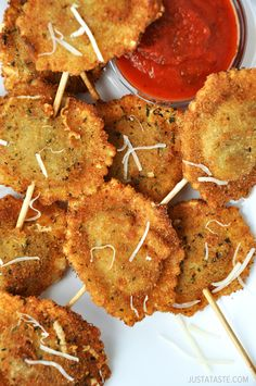 Deep-Fried Ravioli On a Stick from justataste.com #recipe