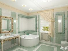 Ванная комната в коттедже: интерьер, квартира, дом, санузел, ванная, туалет, неоклассика, 10 - 20 м2 #interiordesign #apartment #house #wc #bathroom #toilet #neoclassicism #10_20m2 arXip.com